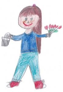 Frau Blum, gemalt von Mia